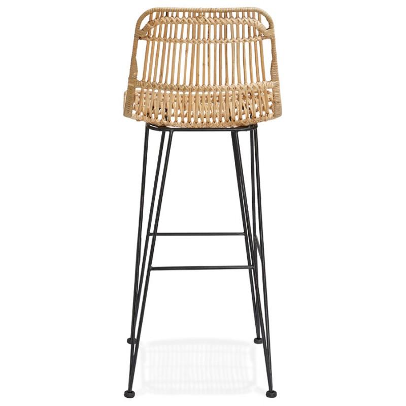 Tabouret de bar chaise de bar en rotin pieds noirs PRETTY (naturel) - image 46409