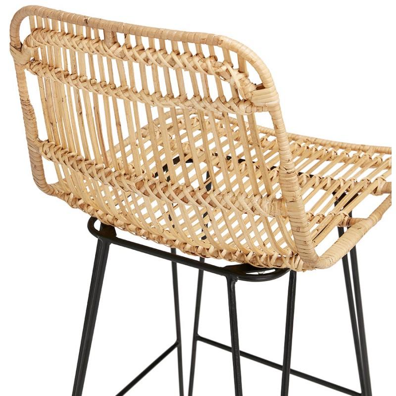 Tabouret de bar chaise de bar en rotin pieds noirs PRETTY (naturel) - image 46413