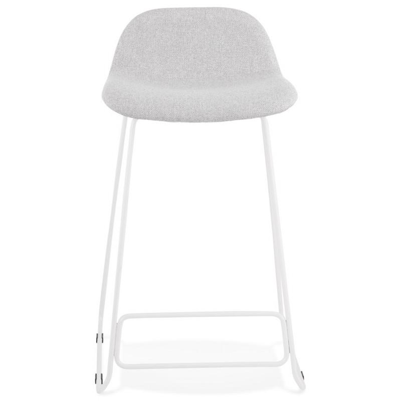Tabouret de bar mi-hauteur en tissu pieds métal blanc CUTIE MINI (gris clair) - image 46416