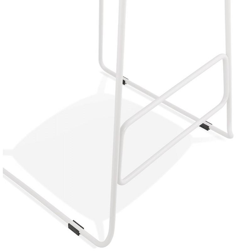 Tabouret de bar mi-hauteur en tissu pieds métal blanc CUTIE MINI (gris clair) - image 46422