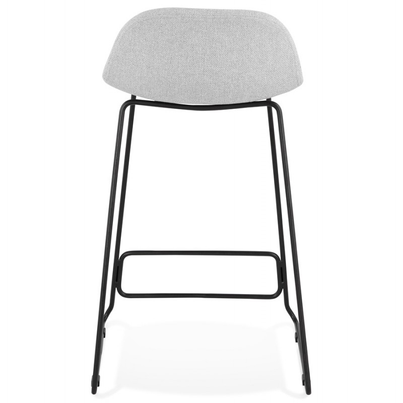 Tabouret de bar mi-hauteur industriel en tissu pieds métal noir CUTIE MINI (gris clair) - image 46439