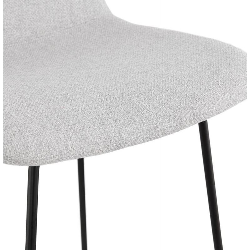 Tabouret de bar mi-hauteur industriel en tissu pieds métal noir CUTIE MINI (gris clair) - image 46441