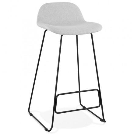 Tabouret de bar chaise de bar industriel en tissu pieds métal noir CUTIE (gris clair)