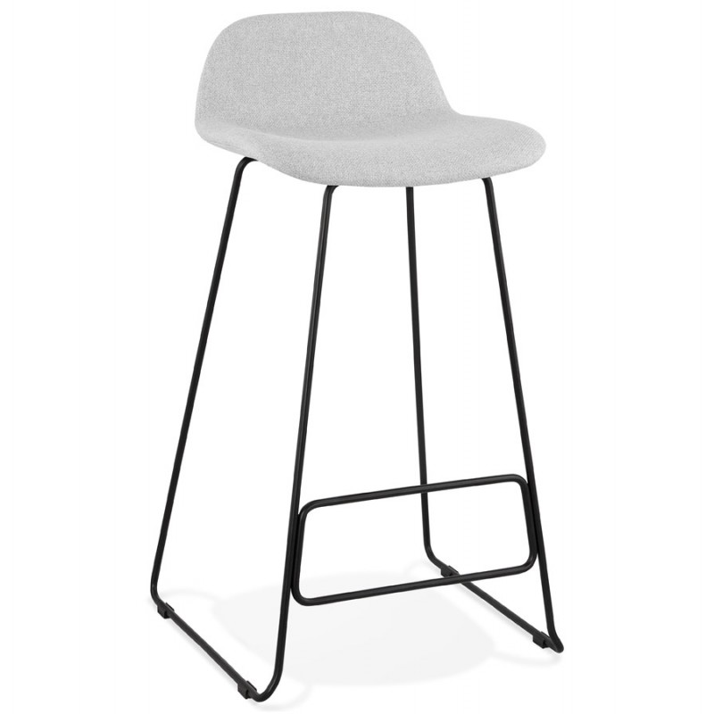 Tabouret de bar chaise de bar industriel en tissu pieds métal noir CUTIE (gris clair) - image 46447