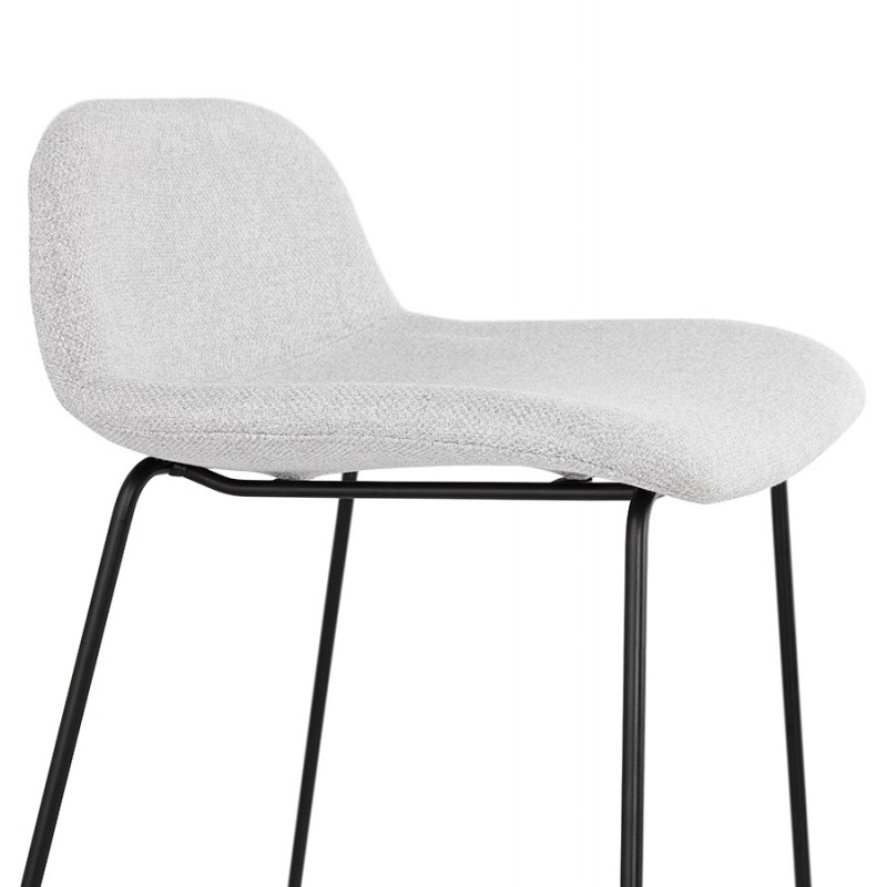 Tabouret de bar chaise de bar industriel en tissu pieds métal noir CUTIE (gris clair) - image 46454