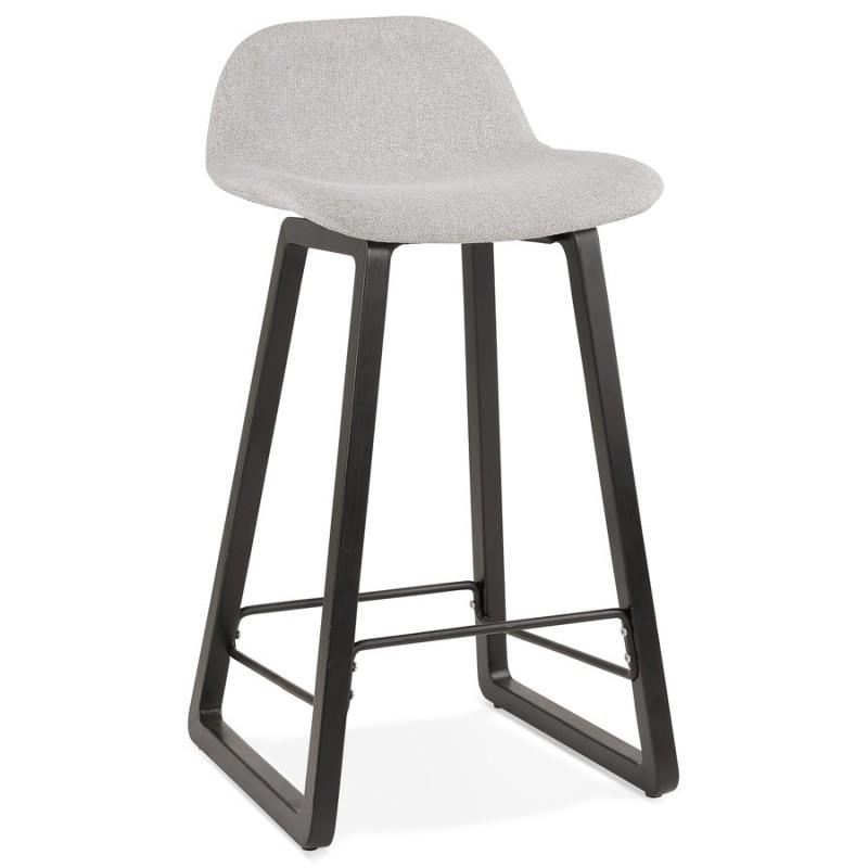 Tabouret de bar mi-hauteur industriel en tissu pieds bois noir MELODY MINI (gris clair)