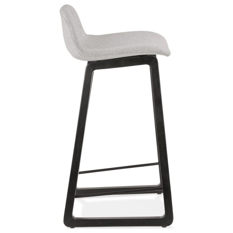 Tabouret de bar mi-hauteur industriel en tissu pieds bois noir MELODY MINI (gris clair) - image 46461