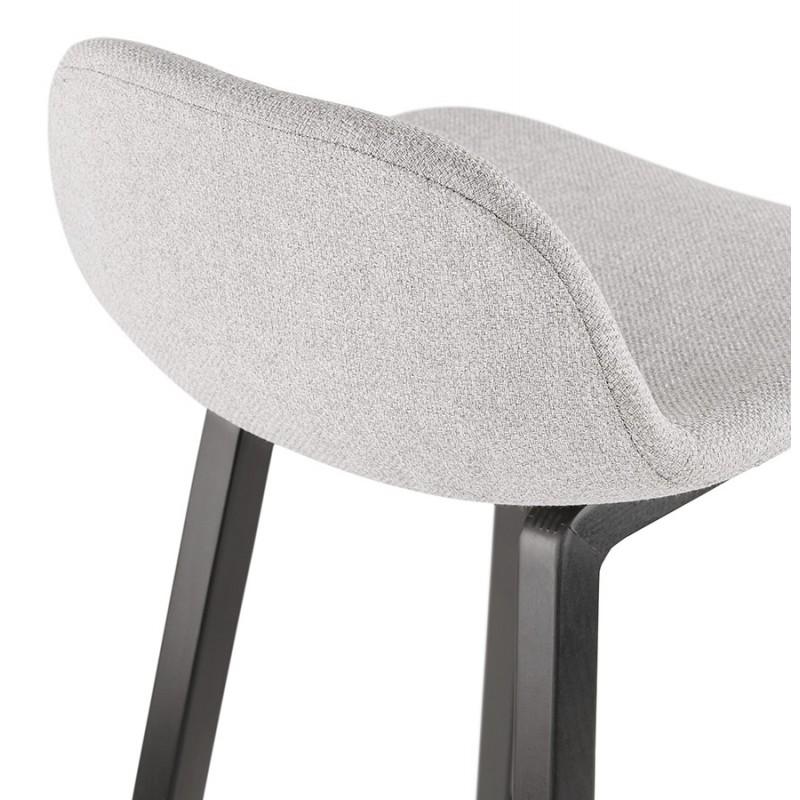 Tabouret de bar mi-hauteur industriel en tissu pieds bois noir MELODY MINI (gris clair) - image 46467