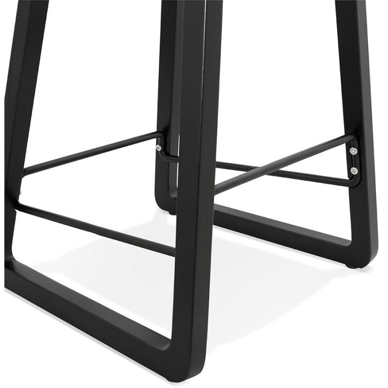 Tabouret de bar mi-hauteur industriel en tissu pieds bois noir MELODY MINI (gris clair) - image 46469