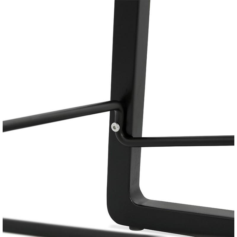 Tabouret de bar mi-hauteur industriel en tissu pieds bois noir MELODY MINI (gris clair) - image 46470