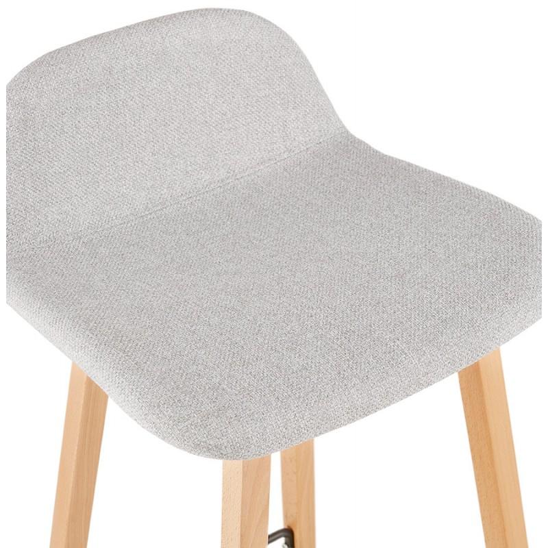 Tabouret de bar mi-hauteur scandinave en tissu pieds couleur naturelle MELODY MINI (gris clair) - image 46476