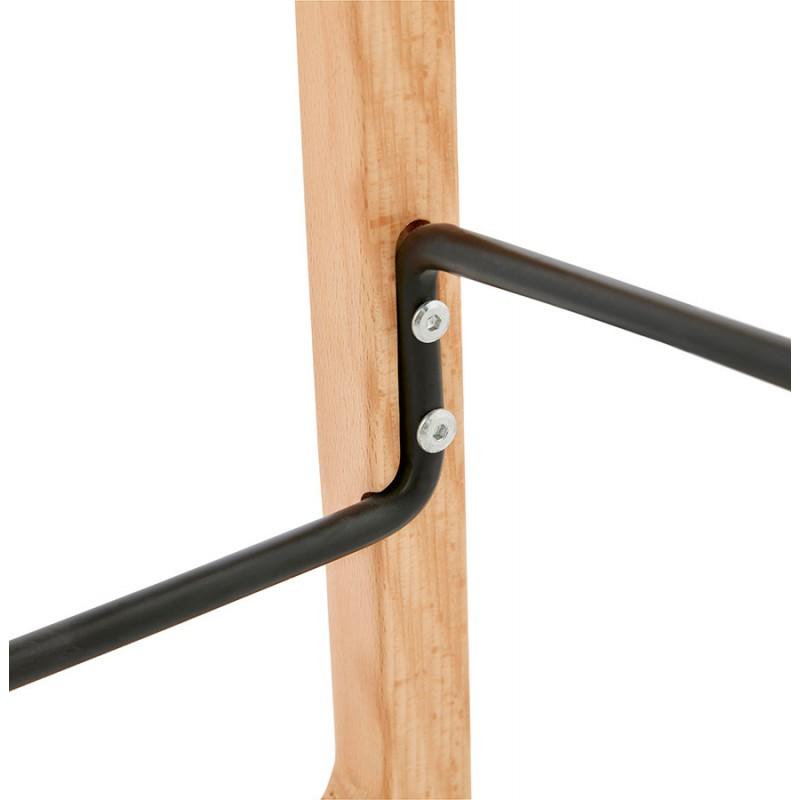 Tabouret de bar mi-hauteur scandinave en tissu pieds couleur naturelle MELODY MINI (gris clair) - image 46481