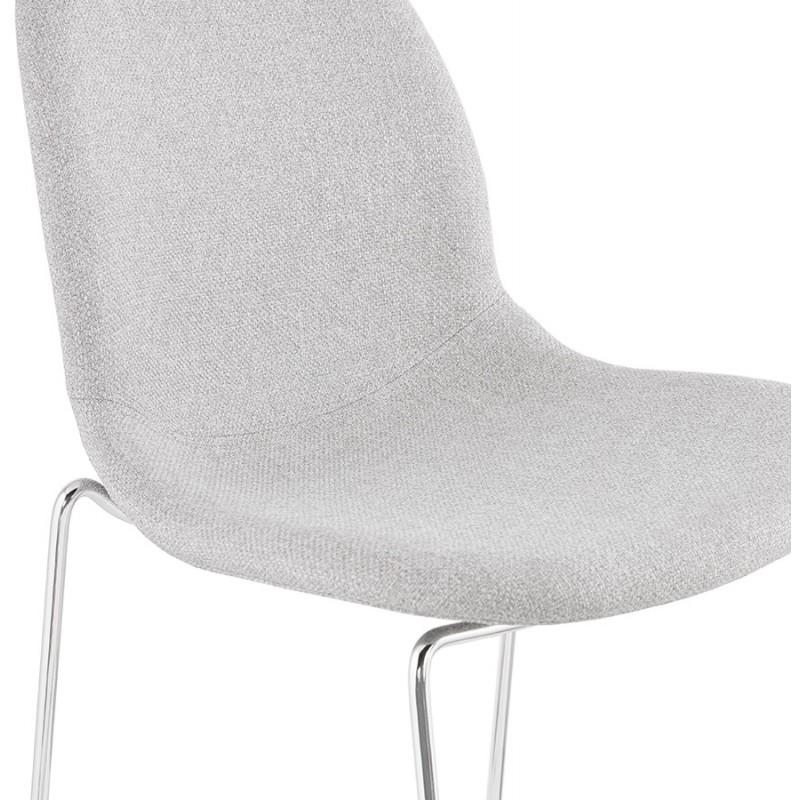 Tabouret de bar mi-hauteur scandinave empilable en tissu pieds métal chromé LOKUMA MINI (gris clair) - image 46489