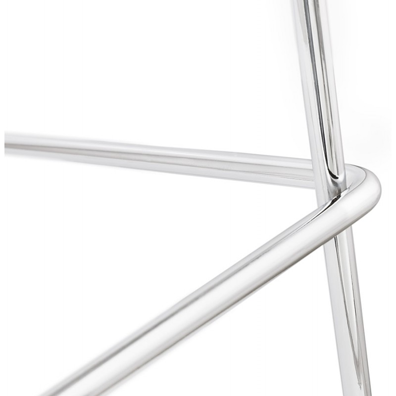 Tabouret de bar mi-hauteur scandinave empilable en tissu pieds métal chromé LOKUMA MINI (gris clair) - image 46496