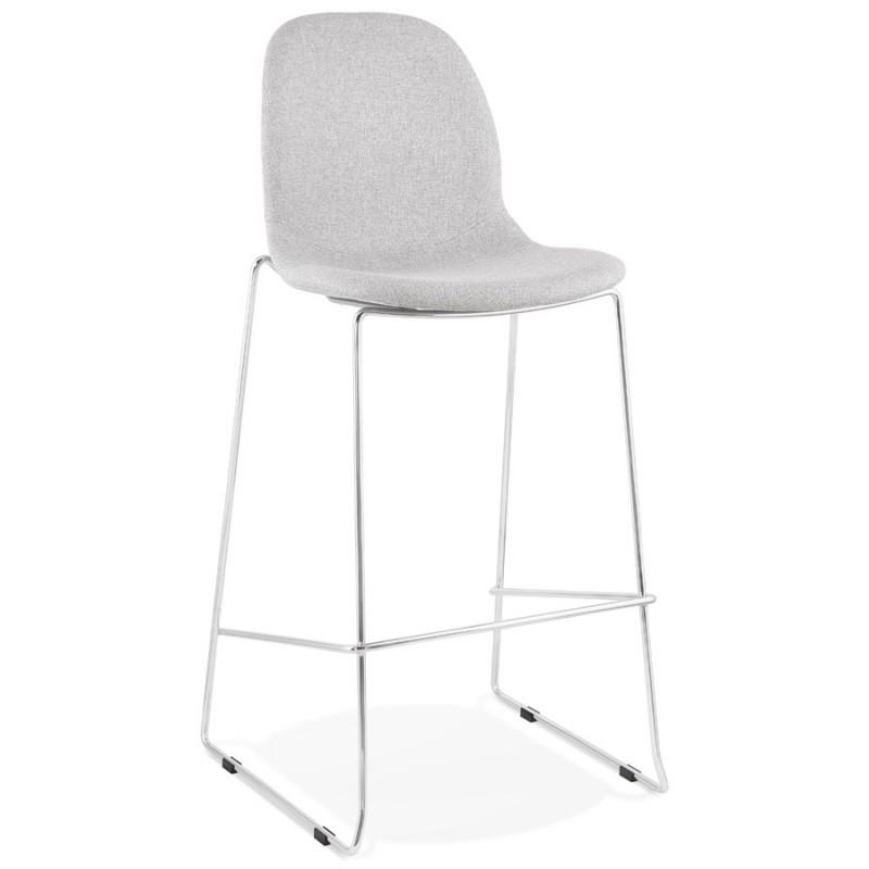Tabouret de bar chaise de bar scandinave empilable en tissu pieds métal chromé LOKUMA (gris clair) - image 46499