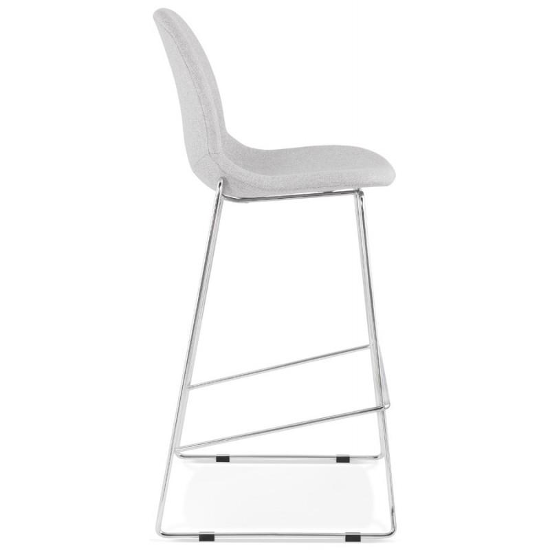 Tabouret de bar chaise de bar scandinave empilable en tissu pieds métal chromé LOKUMA (gris clair) - image 46501
