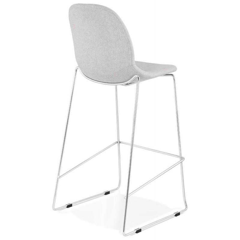 Tabouret de bar chaise de bar scandinave empilable en tissu pieds métal chromé LOKUMA (gris clair) - image 46502