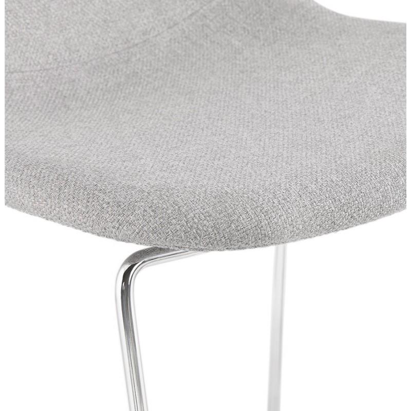 Tabouret de bar chaise de bar scandinave empilable en tissu pieds métal chromé LOKUMA (gris clair) - image 46505