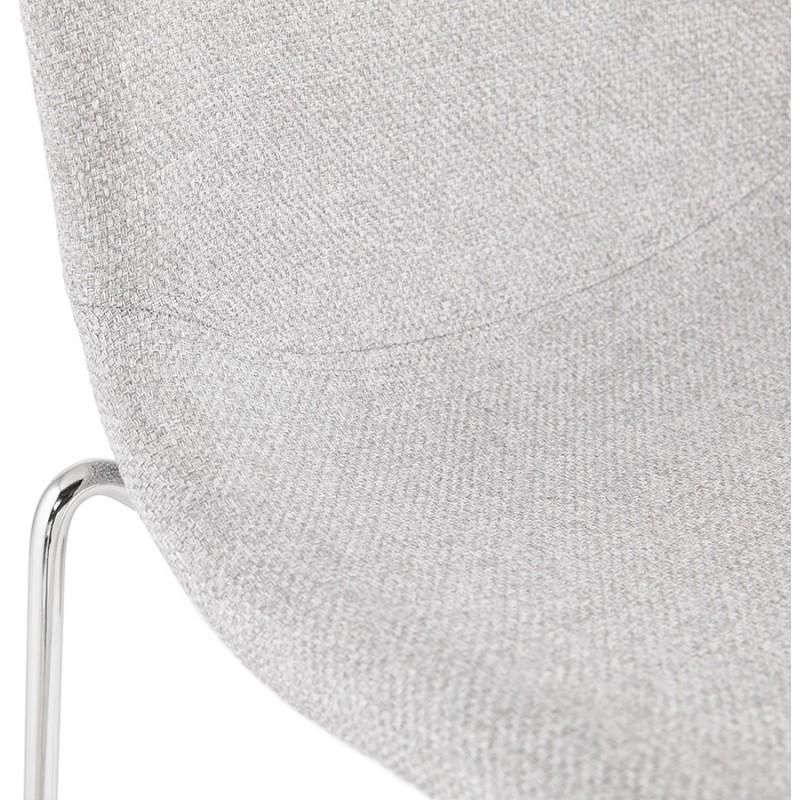 Tabouret de bar chaise de bar scandinave empilable en tissu pieds métal chromé LOKUMA (gris clair) - image 46506