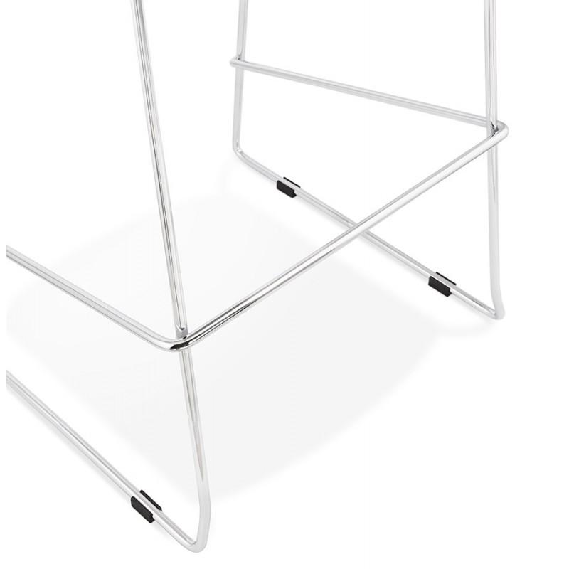 Tabouret de bar chaise de bar scandinave empilable en tissu pieds métal chromé LOKUMA (gris clair) - image 46510