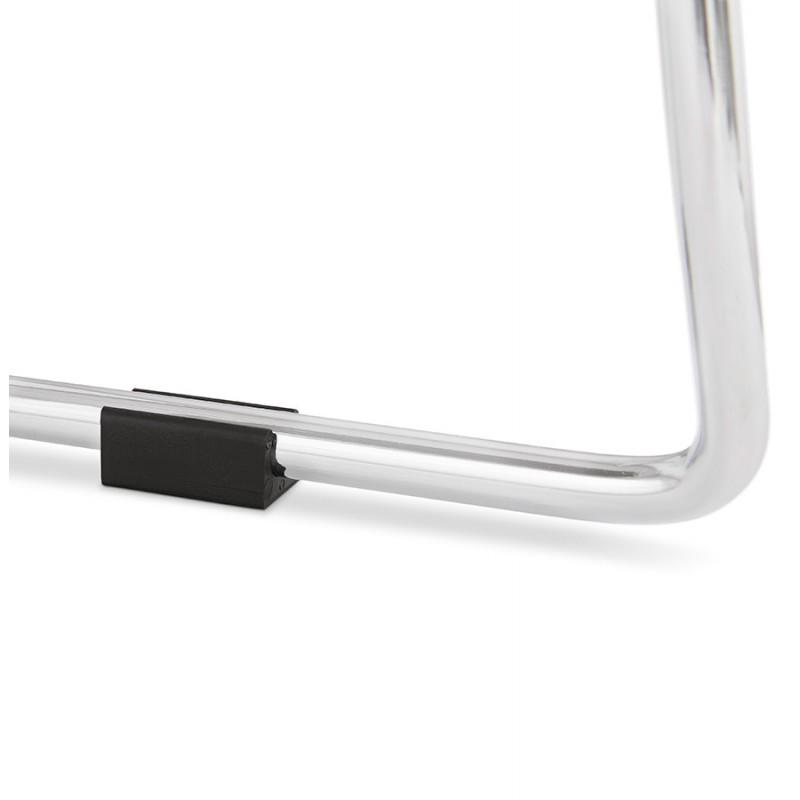 Tabouret de bar chaise de bar scandinave empilable en tissu pieds métal chromé LOKUMA (gris clair) - image 46513
