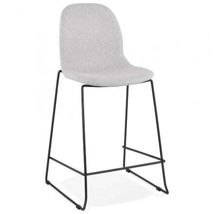 Tabouret de bar chaise de bar mi-hauteur design empilable en tissu DOLY MINI (gris clair)