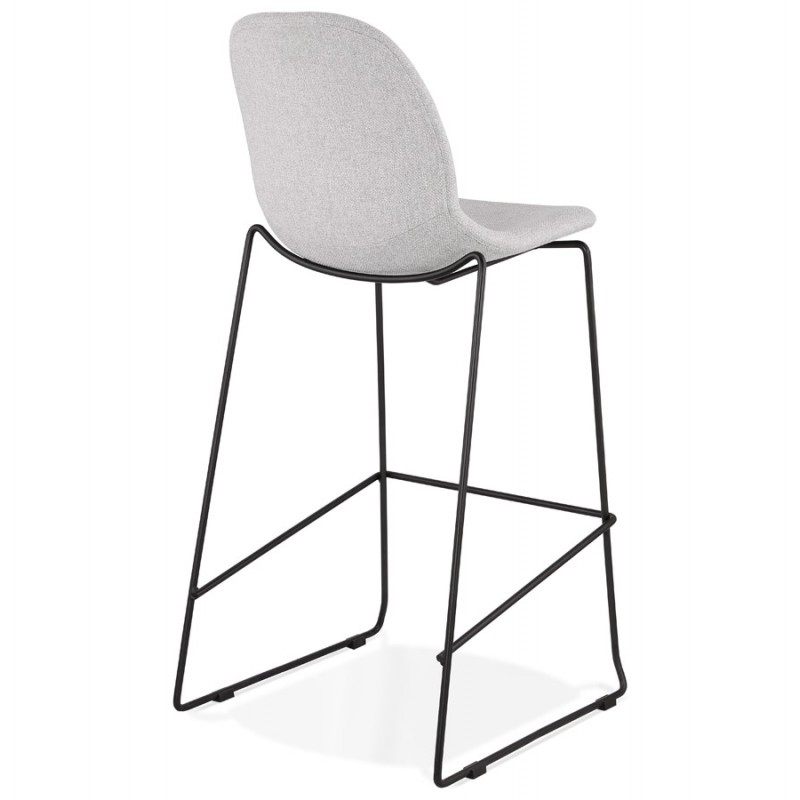 Tabouret de bar chaise de bar design empilable en tissu DOLY (gris clair) - image 46541