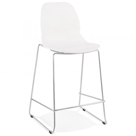 Tabouret de bar chaise de bar mi-hauteur design empilable JULIETTE MINI (blanc)