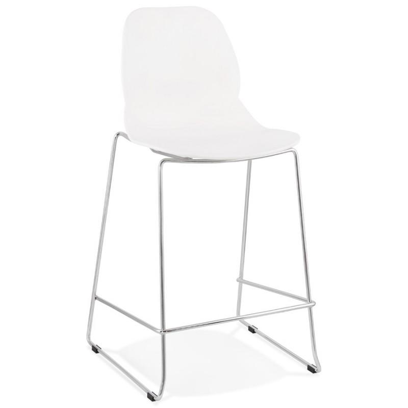 Tabouret de bar chaise de bar mi-hauteur design empilable JULIETTE MINI (blanc) - image 46549