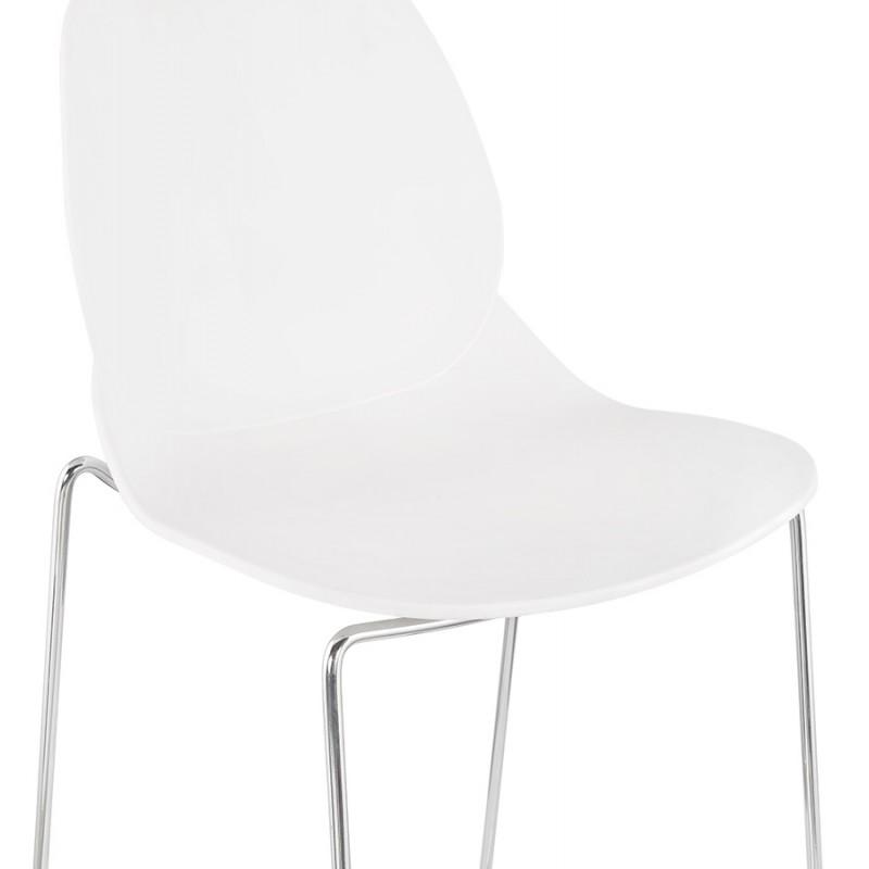 Tabouret de bar chaise de bar mi-hauteur design empilable JULIETTE MINI (blanc) - image 46554