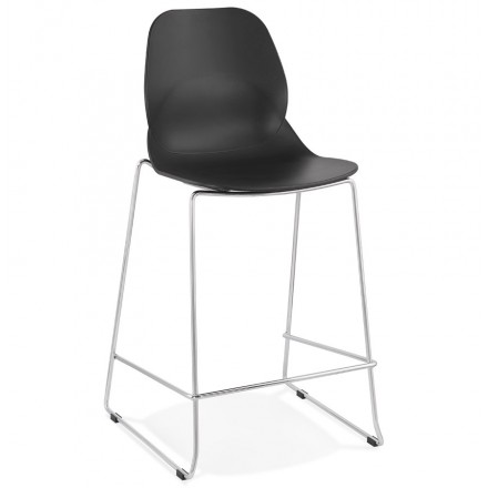 Tabouret de bar chaise de bar mi-hauteur design empilable JULIETTE MINI (noir)