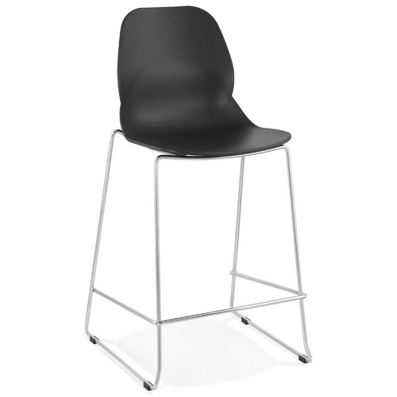 Tabouret de bar chaise de bar mi-hauteur design empilable JULIETTE MINI (noir)
