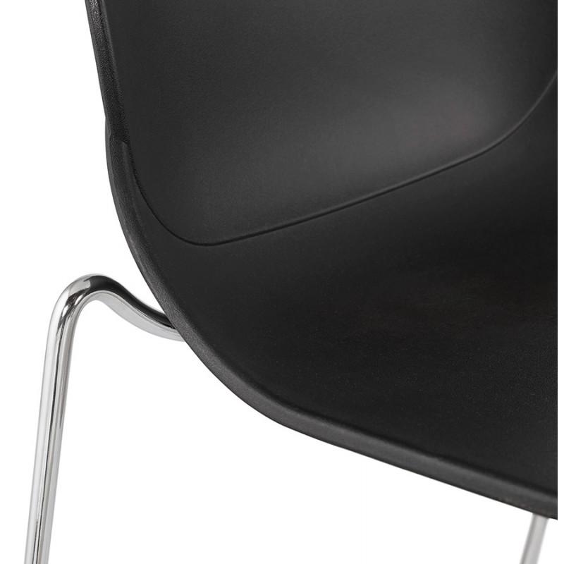 Tabouret de bar chaise de bar mi-hauteur design empilable JULIETTE MINI (noir) - image 46570