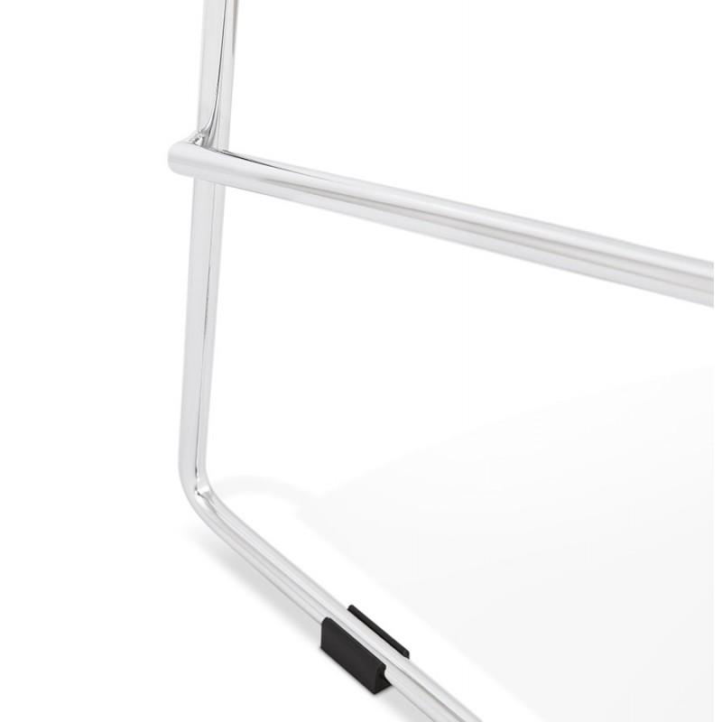 Tabouret de bar mi-hauteur scandinave empilable en tissu pieds métal chromé LOKUMA MINI (gris foncé) - image 46587