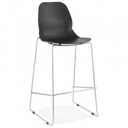 Stapelbarer Design Barhocker mit verchromten Metallbeinen JULIETTE (schwarz)