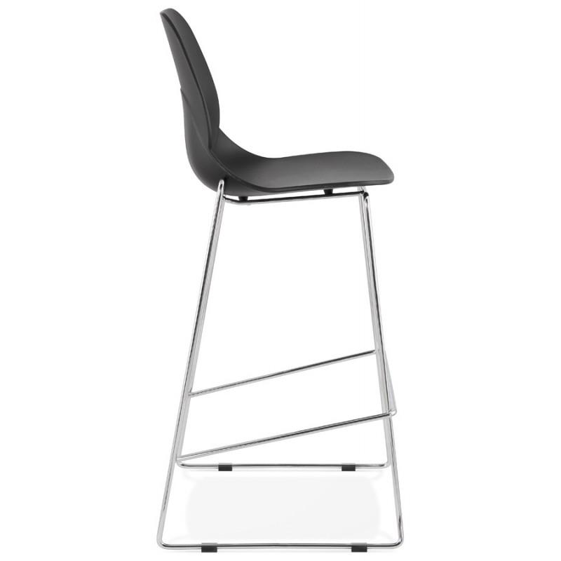 Design stackable bar stool with chromed metal legs JULIETTE (black) - image 46604