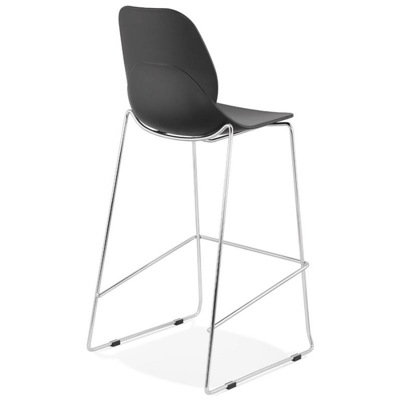 Design stackable bar stool with chromed metal legs JULIETTE (black) - image 46605