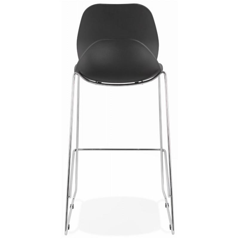 Tabouret de bar empilable design pieds métal chromé JULIETTE (noir) - image 46606