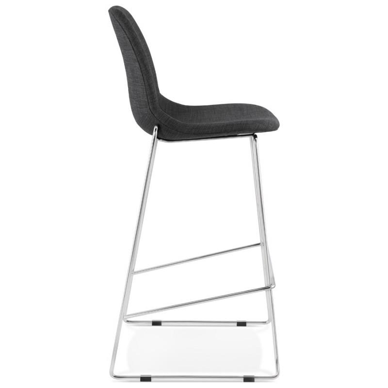 Tabouret de bar chaise de bar scandinave empilable en tissu pieds métal chromé LOKUMA (gris foncé) - image 46618