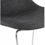 Tabouret de bar chaise de bar scandinave empilable en tissu pieds métal chromé LOKUMA (gris foncé)