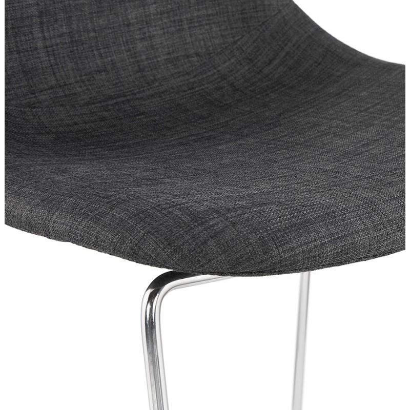 Tabouret de bar chaise de bar scandinave empilable en tissu pieds métal chromé LOKUMA (gris foncé) - image 46622