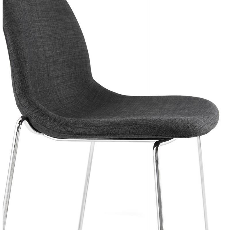 Tabouret de bar chaise de bar scandinave empilable en tissu pieds métal chromé LOKUMA (gris foncé) - image 46623