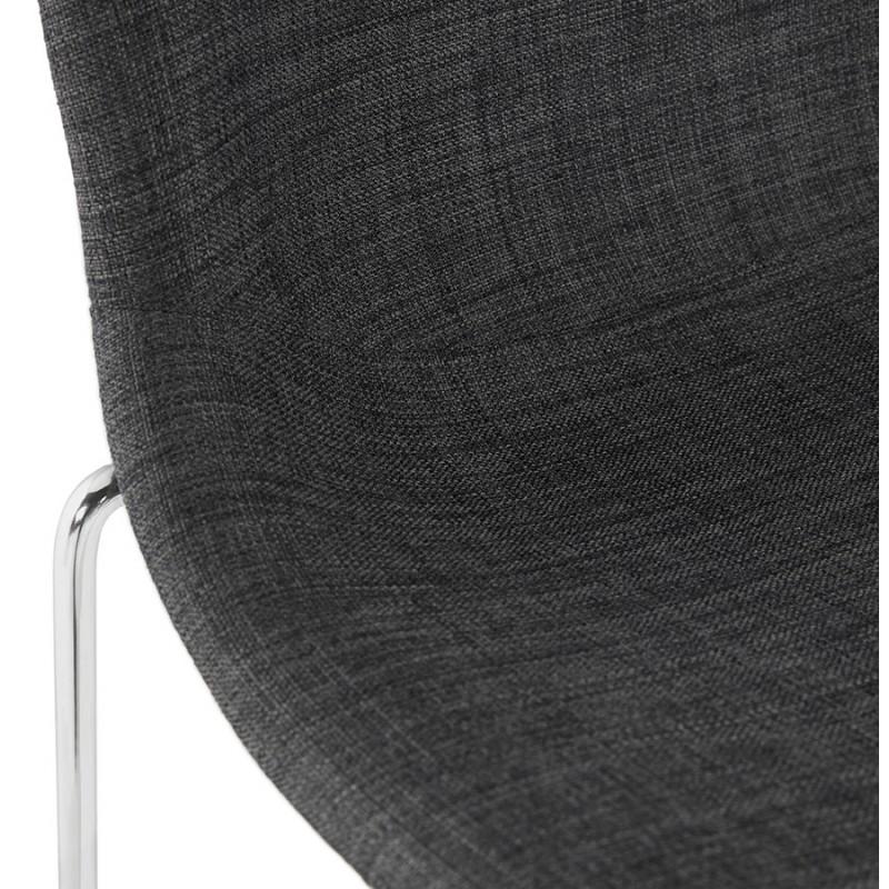 Tabouret de bar chaise de bar scandinave empilable en tissu pieds métal chromé LOKUMA (gris foncé) - image 46624