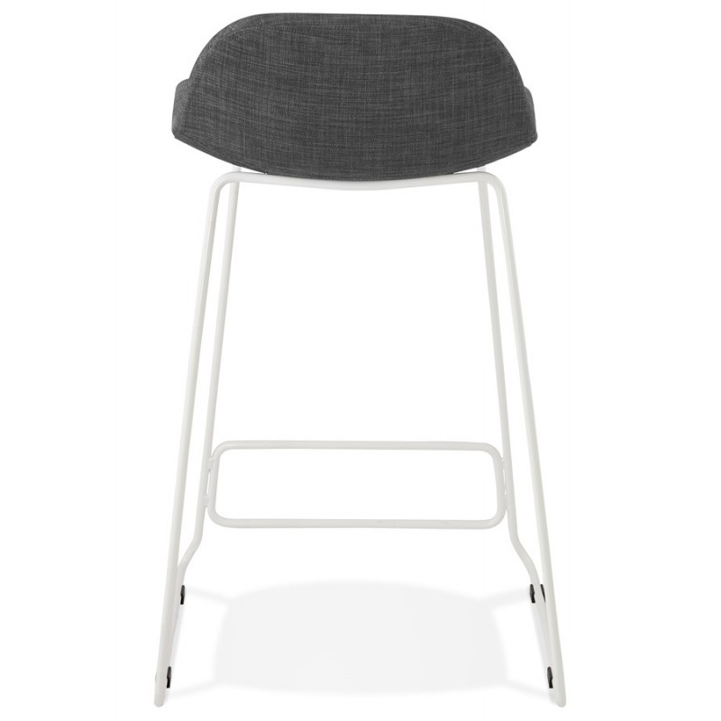 Small-height bar stool in white metal foot fabric CUTIE MINI (anthracite grey) - image 46843