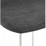 Tabouret de bar mi-hauteur en tissu pieds métal blanc CUTIE MINI (gris anthracite)