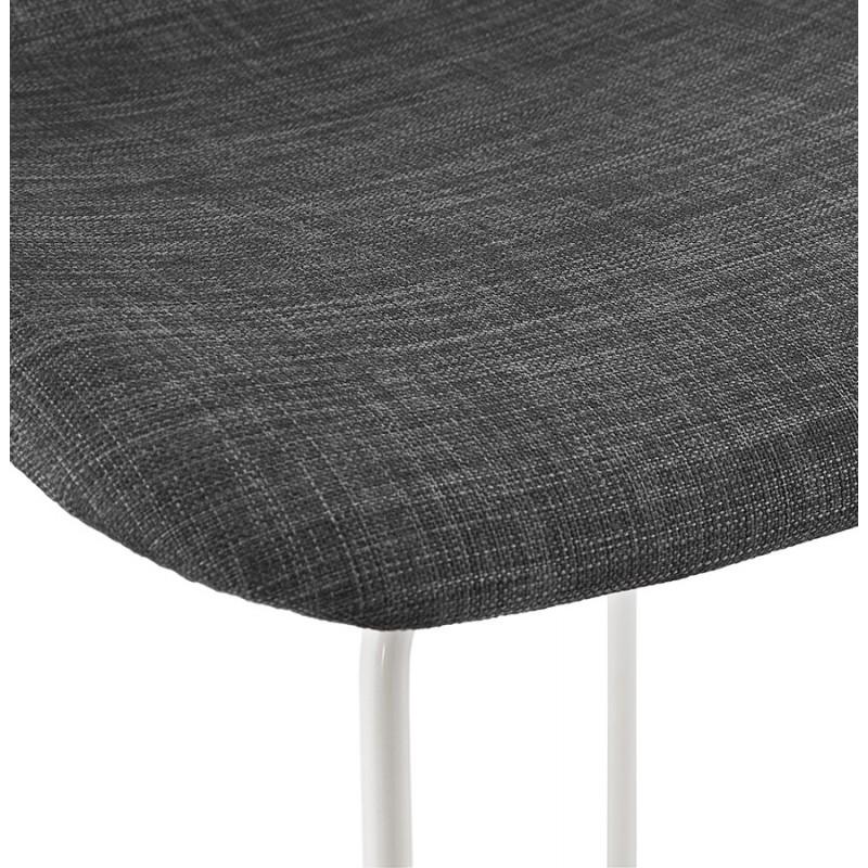 Tabouret de bar mi-hauteur en tissu pieds métal blanc CUTIE MINI (gris anthracite) - image 46845