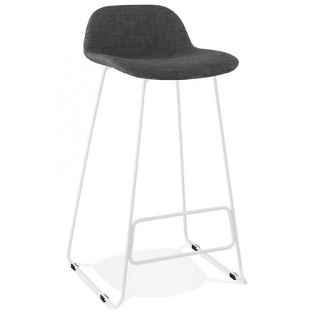 Tabouret de bar chaise de bar en tissu pieds métal blanc CUTIE (gris anthracite)