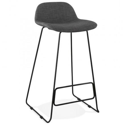 Tabouret de bar chaise de bar industriel en tissu pieds métal noir CUTIE (gris anthracite)