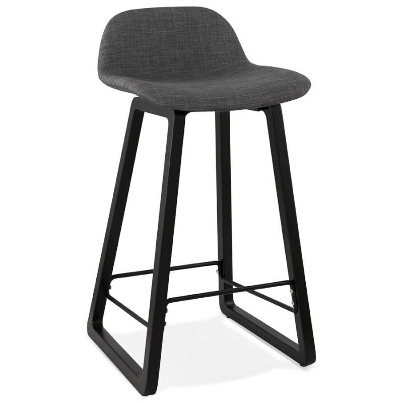 Tabouret de bar mi-hauteur industriel en tissu pieds bois noir MELODY MINI (gris anthracite) - image 46887