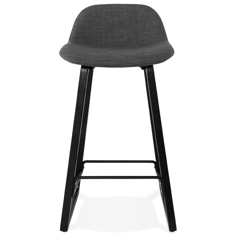 Tabouret de bar mi-hauteur industriel en tissu pieds bois noir MELODY MINI (gris anthracite) - image 46888
